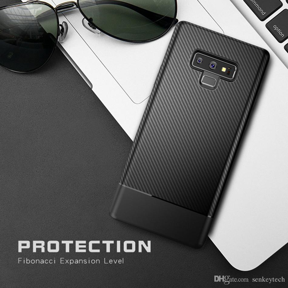online retailer 56111 315eb For Samsung Galaxy Note 9 S8 S9 Plus Carbon Fiber Shockproof Soft TPU Case  Cover Anti-slip Fashion Luxury Phone Cases
