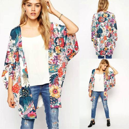 Women Fashion Floral Loose Kimono Cardigan Boho Chiffon Open Stitch Short  Sleeve Spring Tops Jacket Coat Down Jacket Womens Leather Jackets From  Feeling04 05d890cf4