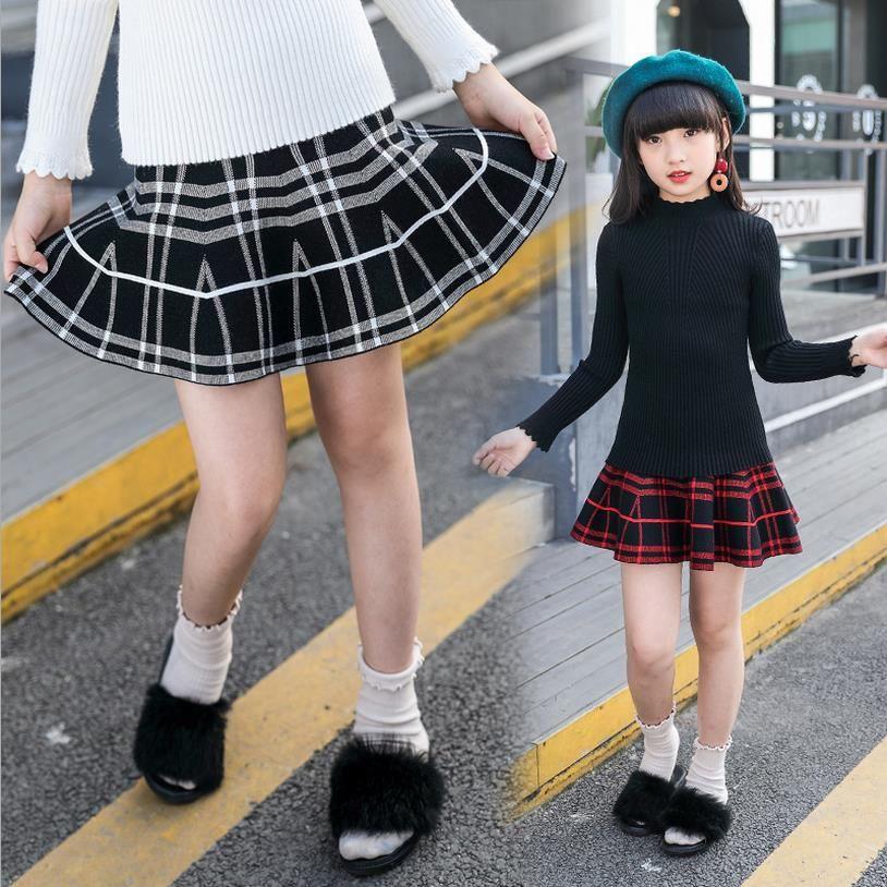 Students plaid red skirt girls tutu baby skirt christmas rainbow children skirts tutu fluffy skirt for girl dancing party ball gown
