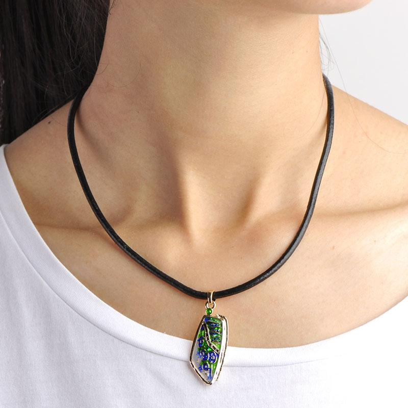 Blucome New Arrival Red Green Enamel Jewelry Sets Women Lady Gifts Black Rope Chain Leaves Shape Long Drop Earrings Necklace Set