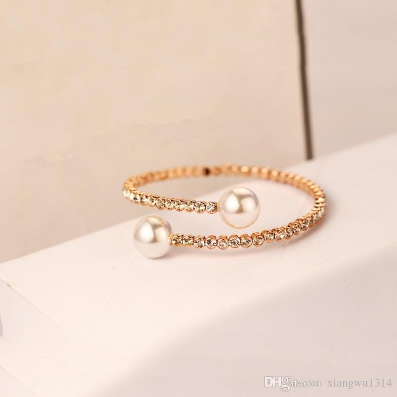 Online Cheap Crystal Double Simulated Pearl Arm Bangles Bracelets