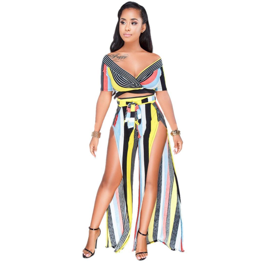 8e88583389 2019 Women Summer Beach Boho Set Short Off Shoulder Crop Top Split Long  Skirt Sets Two Piece Skirt Set From Cupidcloth, $32.35 | DHgate.Com