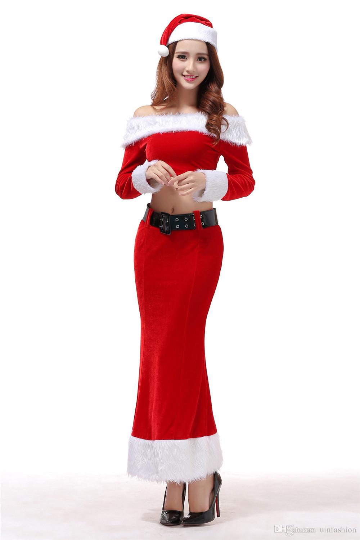 Acquista New Fashion Long Sleeve Costume Di Natale Donna Abito Lungo Gonna  Top Set Costumi Sexy Femminili Carnevale Babbo Natale A  20.11 Dal  Uinfashion ... 761956d3c17