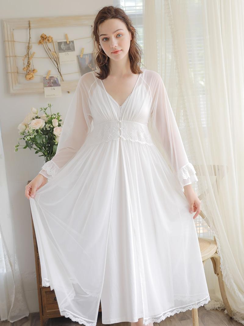 04ffffa54 Compre Rendas Modal Robe Set Moda Sexy Camisola Feminina Cinta De Verão  Camisola De Duas Peças Longo Retro Robe Noiva Casamento G De Macloth