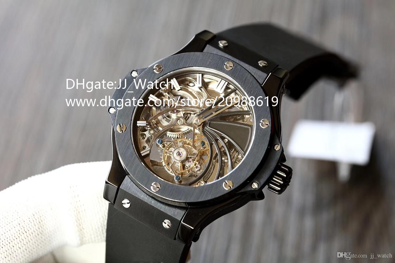 039405e081d Compre Grande Marca Mens Watch Luxo Esporte Real Turbilhão Automático  Relógios De Pulso Mecânicos Dupla Face Safira Pulseira De Borracha De Vidro  Relógio ...