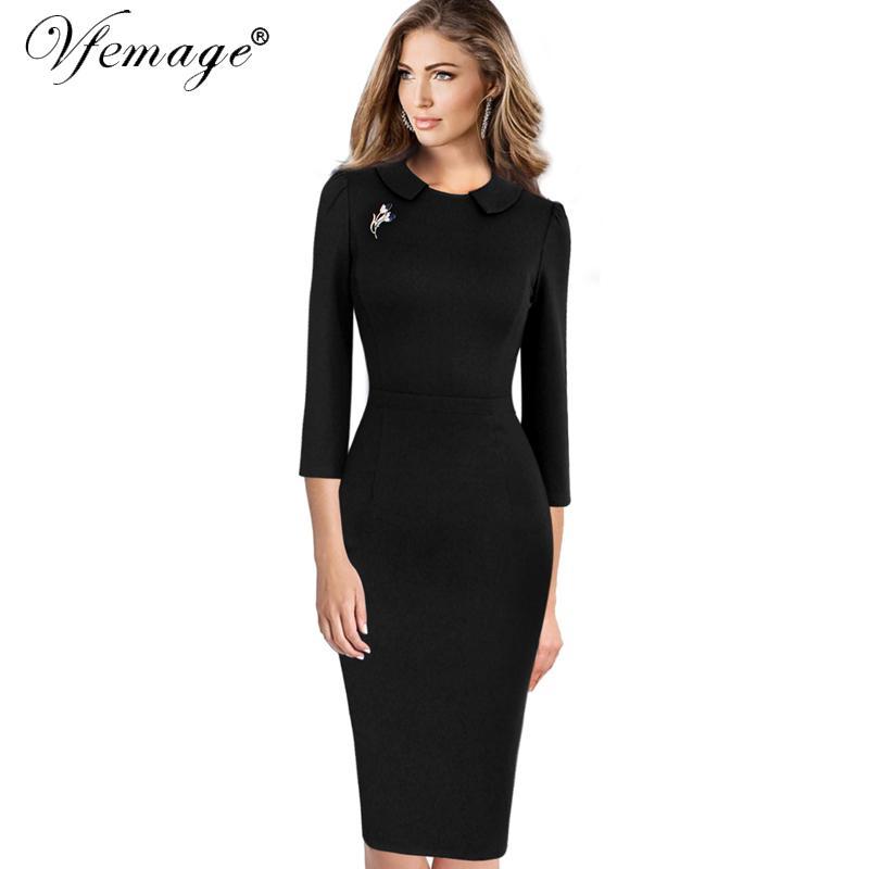 Vfemage Women Elegant Vintage 2018 Spring Autumn Slim Casual Wear To ... ac8d95a597c3