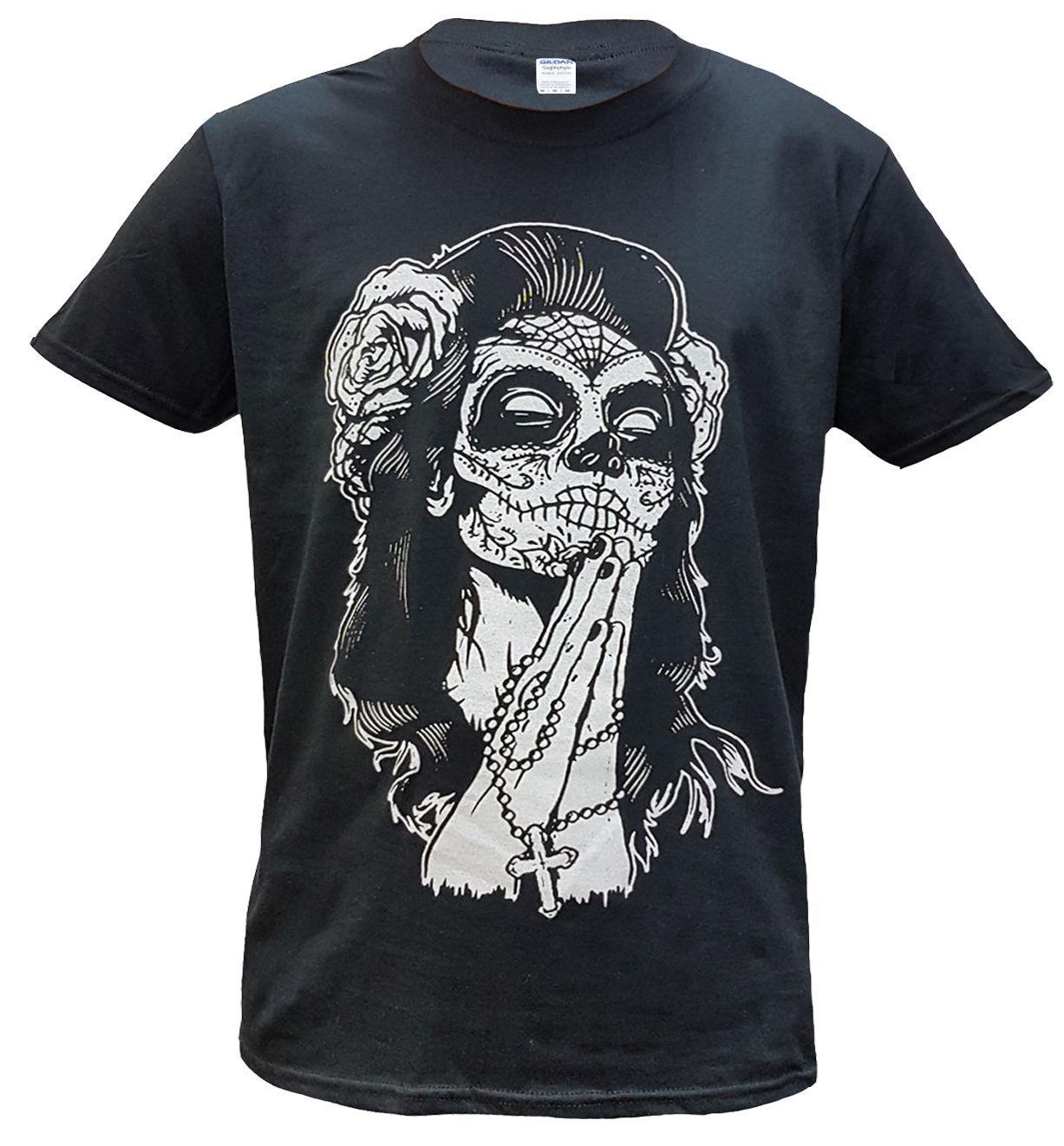 Compre Camiseta De Algodón Con Calavera Mexicana Tatuaje Calavera