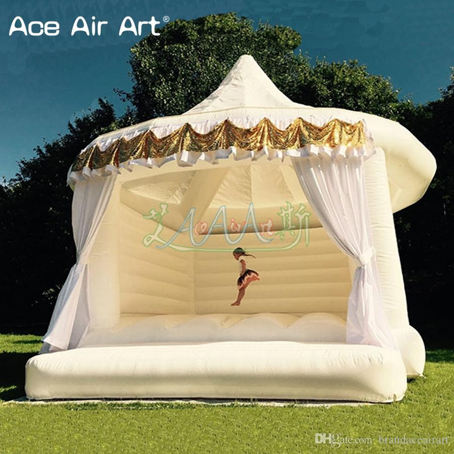 Attractive inflatable White wedding bouncer,jumping house trampolin bouncy castle rental with cuitains for garden wedding ceremory
