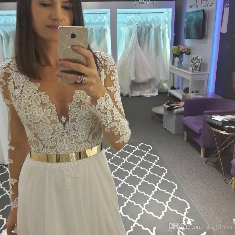 Modern White Beach Chiffon Lace Plugging Cheap Wedding Dresses Sheer Long Sleeve Applique Sweep Train Gold Sash Fittel Bridal Gown Button