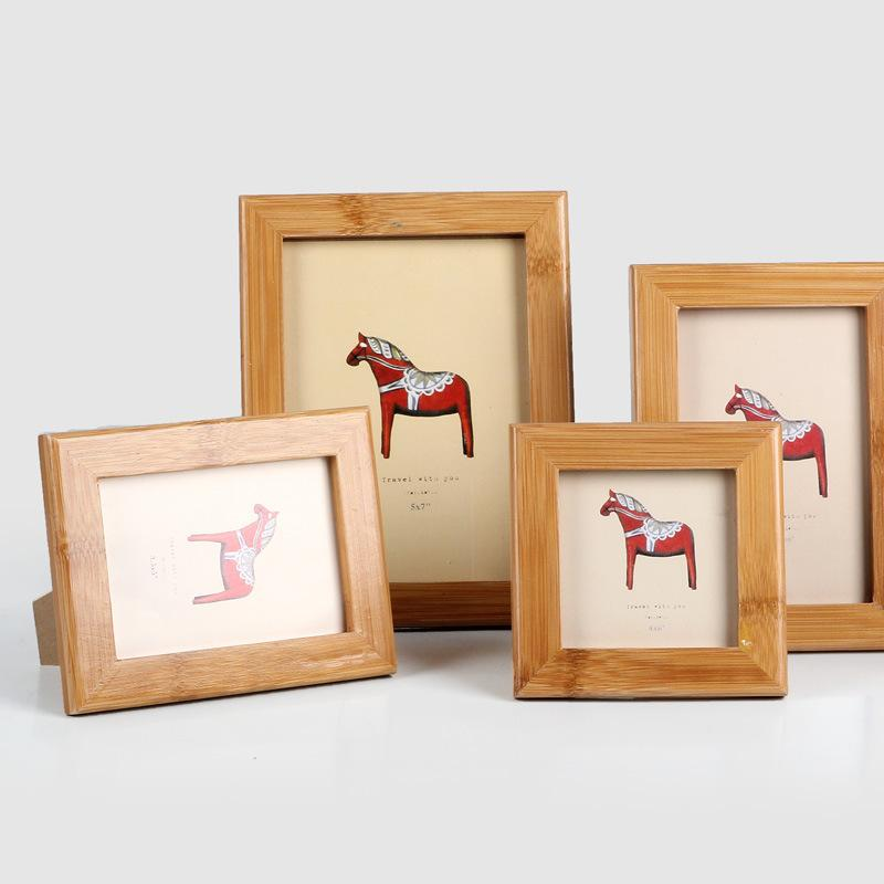 DIY Wooden Photo Frame New Design Craft Home Decoration Glass Picture Frame Horse Pattern Pictures Stand Decorative Frames