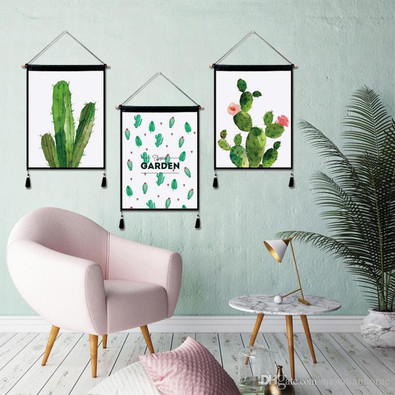 Compre Algodón Lino Colgando Pintura Serie De Cactus Figura De