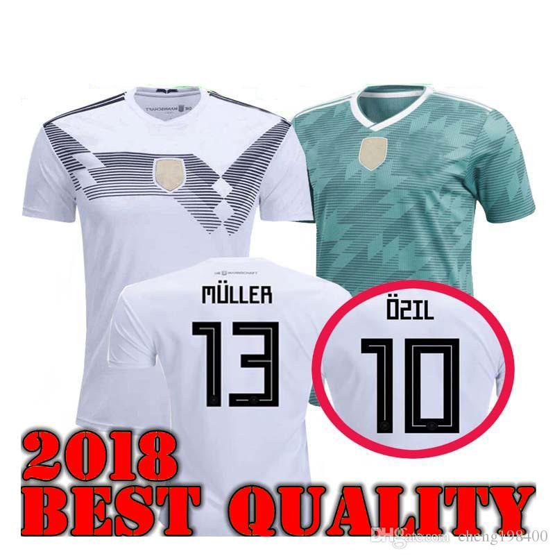 ff409349649 2018 GERMANY Soccer Jersey Home Away Green Muller HUMMELS 18 19 Long ...