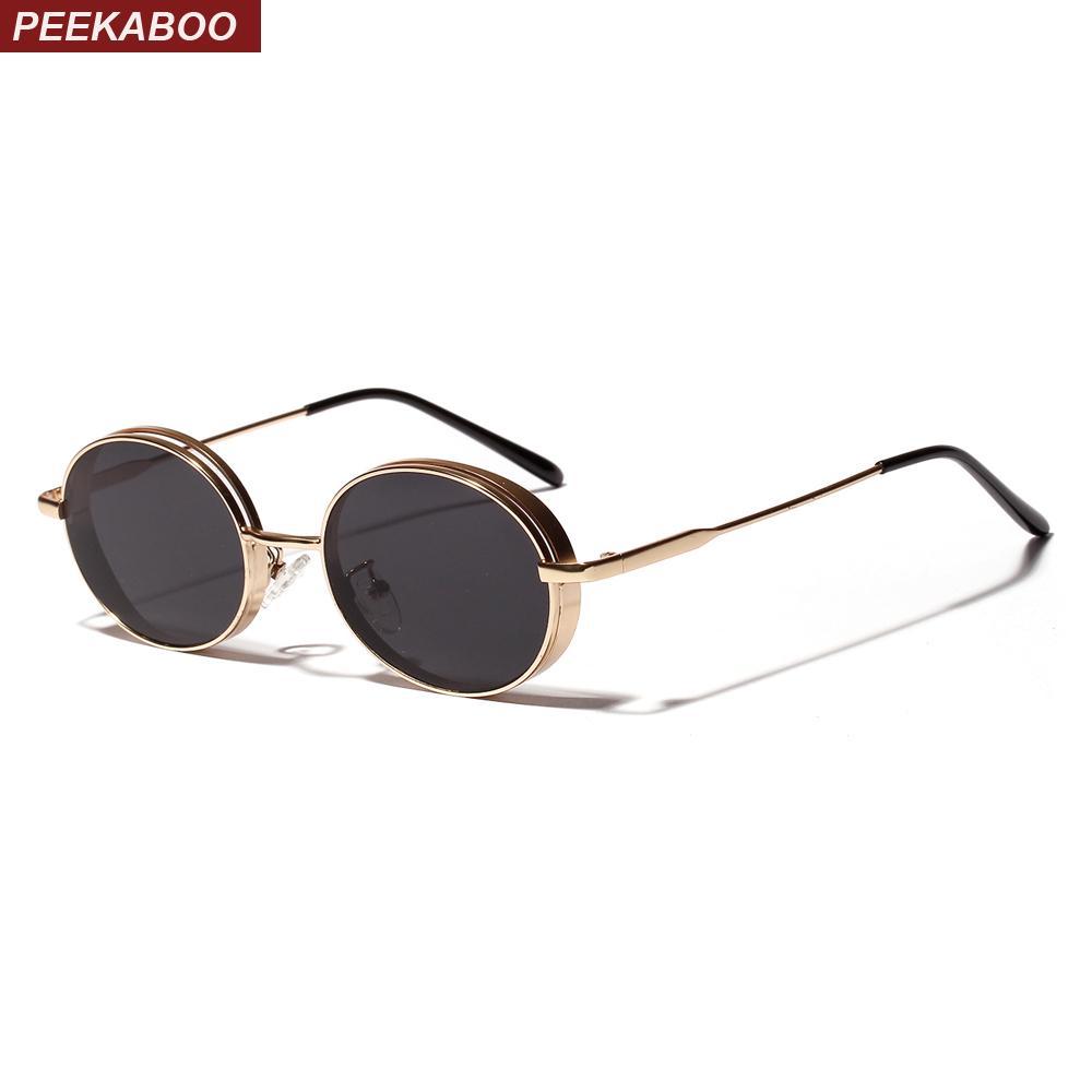 0c4ce9c582 Compre Peekaboo Oval Gafas De Sol Vintage 2019 Regalo Mujer Oro Rojo Negro  Retro Gafas De Sol Redondas Para Hombres Metal Uv400 Unisex A $47.01 Del  Ylingnei ...