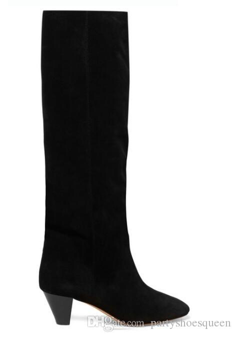 New Fall Tide Black Suede Women Knee High Boots Cowboy Pointed Toe Fashion Lady Boots Party party Shoes Woman Botas Mujer