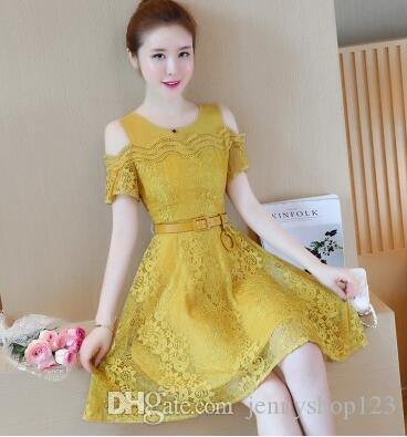 2018 Mesh Splicing New Korean Version Of Thin Lace Shoulder Chiffon Ins  Super Fire Dress White Dresses For Juniors Casual Cocktail Dresses  Teenagers From ... 36277a95d78e