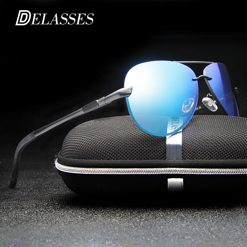 DELASSES Aluminum Magnesium Polarized Aviation Sunglasses Men Women UV400  Driving Sun Glasses Vintage Oculos De Sol Shades 2018 Sunglasses Cheap  Sunglasses ... 86310ff362