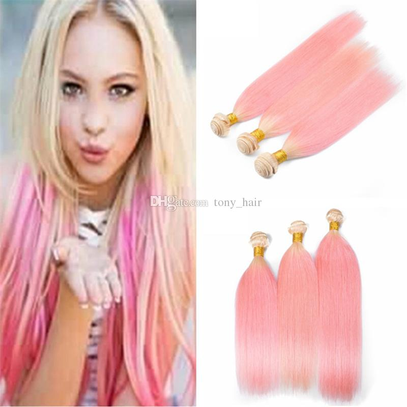 Ombre Blonde And Pink Human Hair Weaves Silky Straight 3 Bundles 2