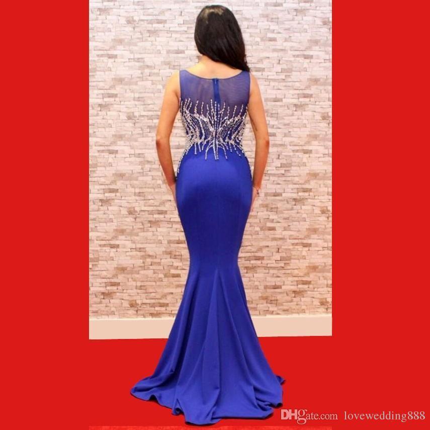 Vestiti da sera blu della sirena di cristallo dei branelli blu eleganti Vestiti da celebrità del tappeto rosso di Bling 2018 le grandi gatsby di promenade del partito
