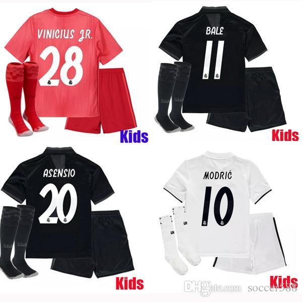 e7ae1182540a8 Compre 18 19 Real Madrid Camisetas De Fútbol Para Niños 2018 VINICIUS JR Camiseta  De Fútbol Para Niños MODRIC BALE Camiseta ASENSIO Real Madrid Maillot ...