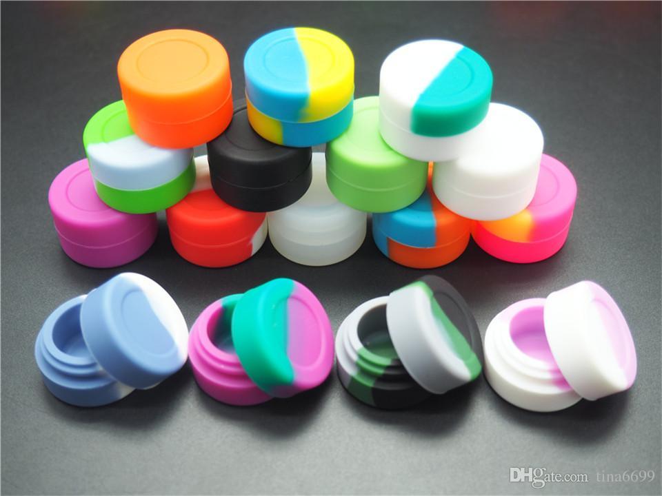 Wiederverwendbarer runder Antihaft-3ml-Silikon-Behälter für E-Cig-Wachs-BHO-Öl-Butan-Verdampfer-Silikon-Gläser DAB-Wachsbehälter
