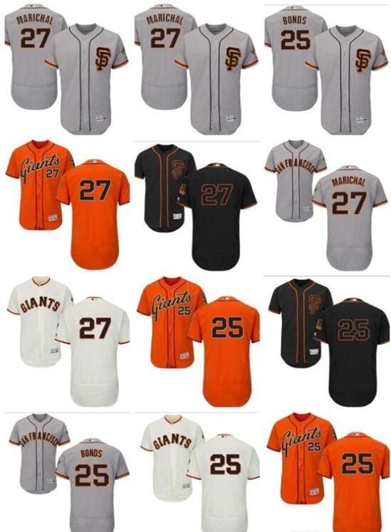 efc44ff52 2019 Custom Men'S Majestic Giants Jersey #27 Juan Marichal 25 Barry Bonds  Orange Black White Gray Authentic Women Youth Baseball Jerseys From  Annaking, ...