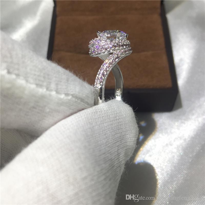2017 El Yapımı Çapraz yüzük 925 Ayar gümüş 5A pembe Cz Taş Nişan düğün band yüzükler kadın erkek Takı için