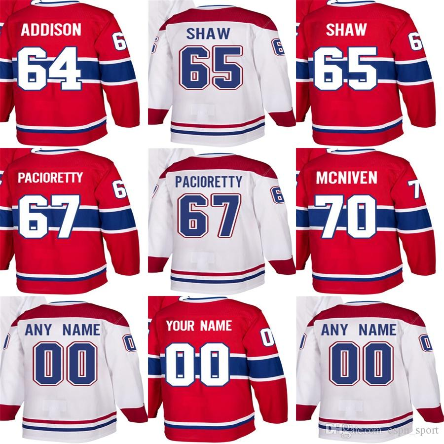 Wholesale Mens Womens Kids Montreal Canadiens 64 Jeremiah Addison 65 Andrew Shaw 67 Max Pacioretty 70 Michael McNiven Ice Hockey Jerseys