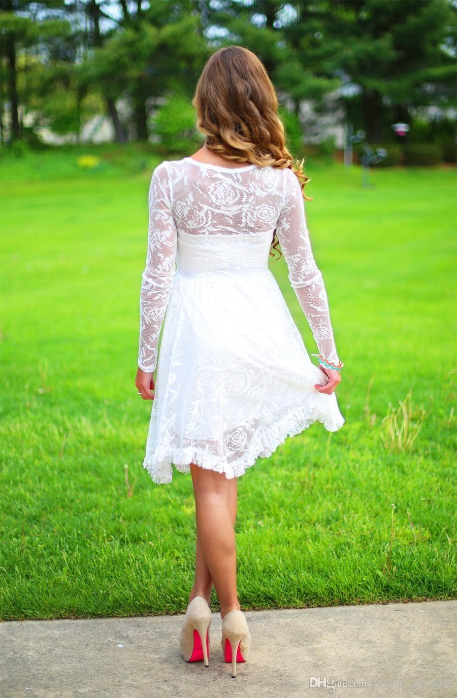 Kurze Land Brautkleider mit langen Ärmeln Kristallausschnitt knielangen Spitze Brautkleider Short Beach Brautkleid