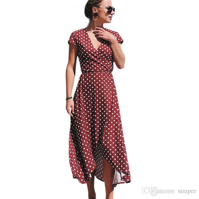 2047251faa 2019 2018 Summer Beach Holiday Polka Dot Maxi Dress Women Boho Style Sexy V  Neck Short Sleeve Irregular Long Dresses From Suuper