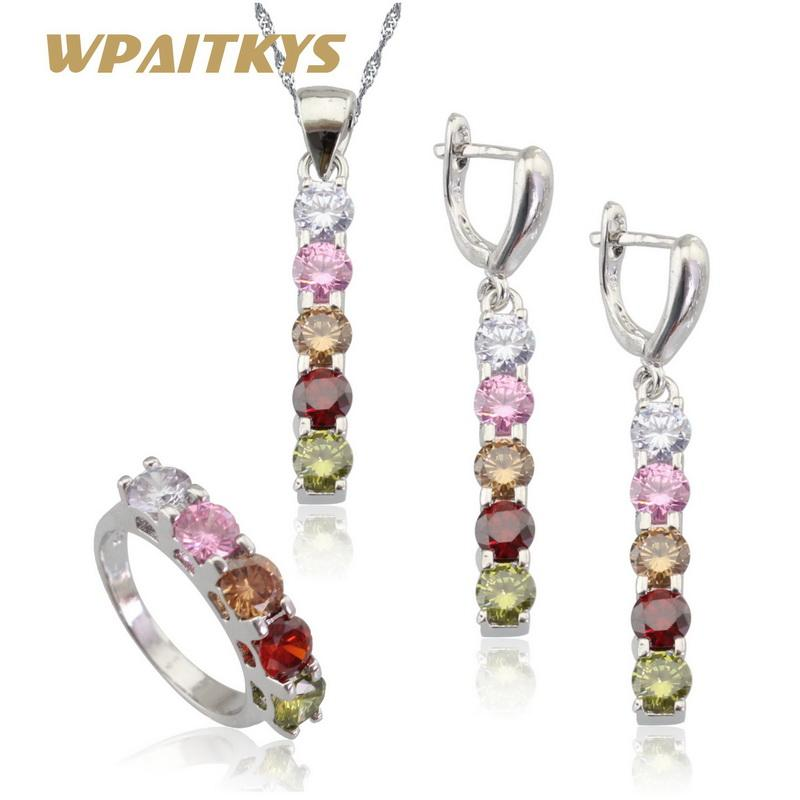 4011cd3f9fc6 Multicolor Stones Silver Color Jewelry Sets For Women Necklace Pendant Long  Earrings Rings Free Gift Box WPAITKYS Wedding Bands Pearl Necklace From  Value222 ...