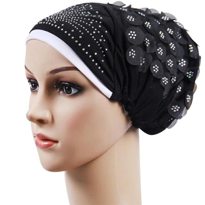 3361d434534 Winter Women India Hat Muslim Ruffle Cancer Chemo Hat Beanie Scarf ...