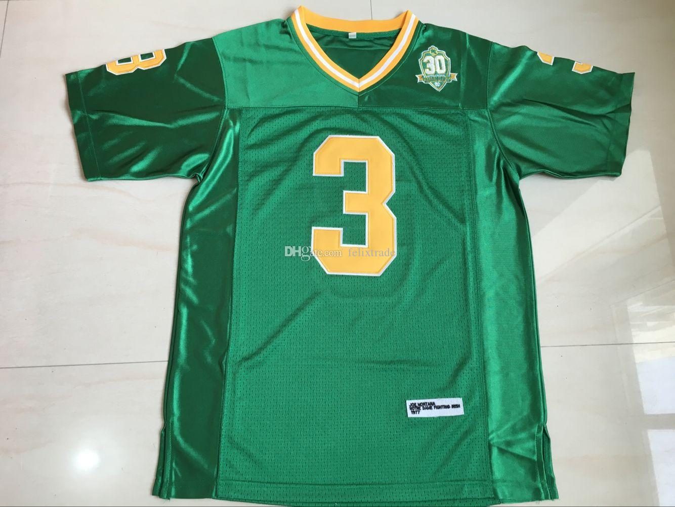 2019 Joe Montana  3 Notre Dame Fighting Irish With 1977 Champion Patch Retro  Vintage VTG College Football Jersey Green Double Stiched IN STOCK From ... 41b3fdecf