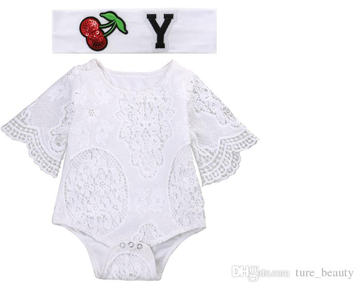 338575f133e2 2019 2018 Hot Lovely Gifts Baby Girls White Ruffles Sleeve Romper With  Headband Infant Lace Jumpsuit Clothes Hairband Sunsuit Outfits   From  Ture beauty