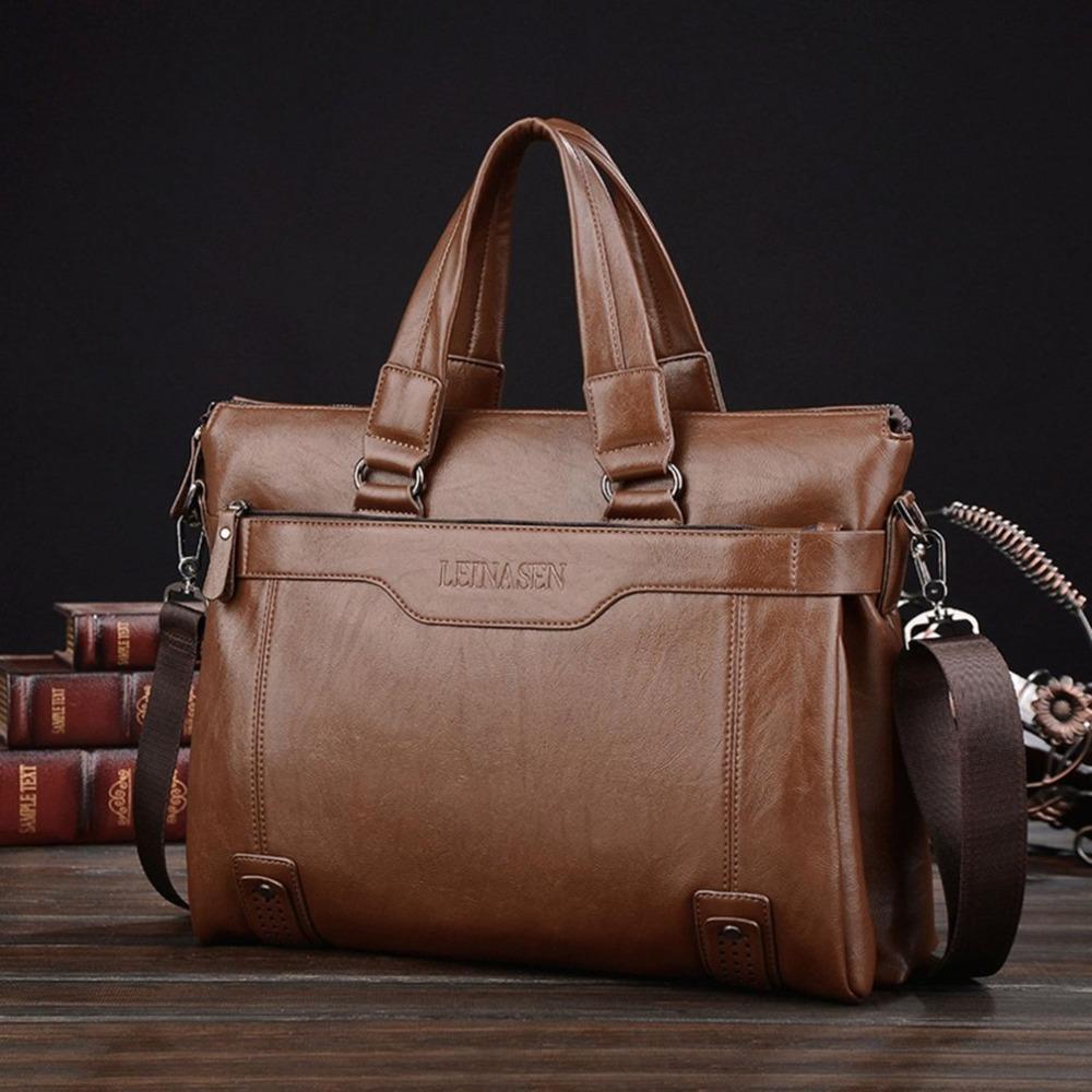 f9e97b9048283 Großhandel Klassische Männer Aktentasche Business Style Männlich Einzelner  Schulterbeutel Große Kapazität Messenger Bags Computer Laptop Handtasche  Tasche ...