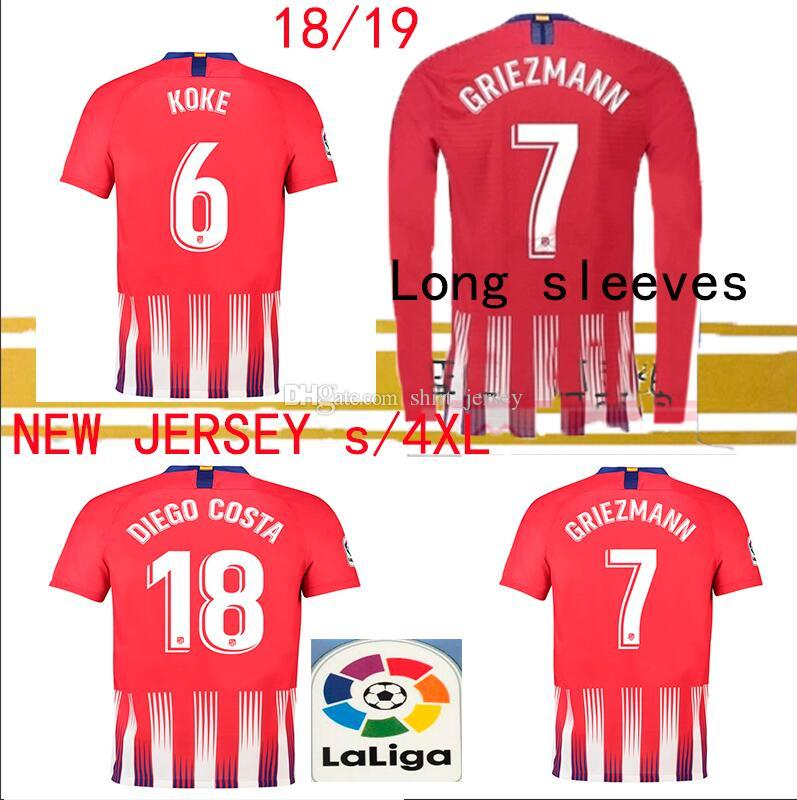 569f6f2d507 New Long Sleeves 2018 19 Atletico Home RED S 4XL Jersey GRIEZMANN ...