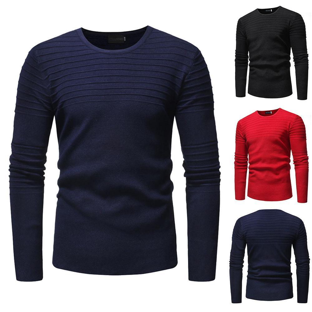 Großhandel Herbst 2018 Neue Stilvolle Herren Pullover Unifarben Gestreift  Falten Pullover Gestrickt Tops Von Annawu163,  43.66 Auf De.Dhgate.Com    Dhgate 3d16d4035c