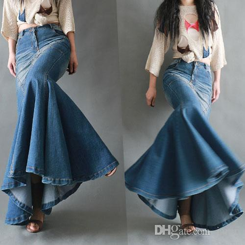 d18479468 Envío gratis 2018 nueva moda Fish Tail Denim estilo sirena faldas para  mujeres Denim Jeans Stretch S-XL largo maxi faldas Slim Hip primavera