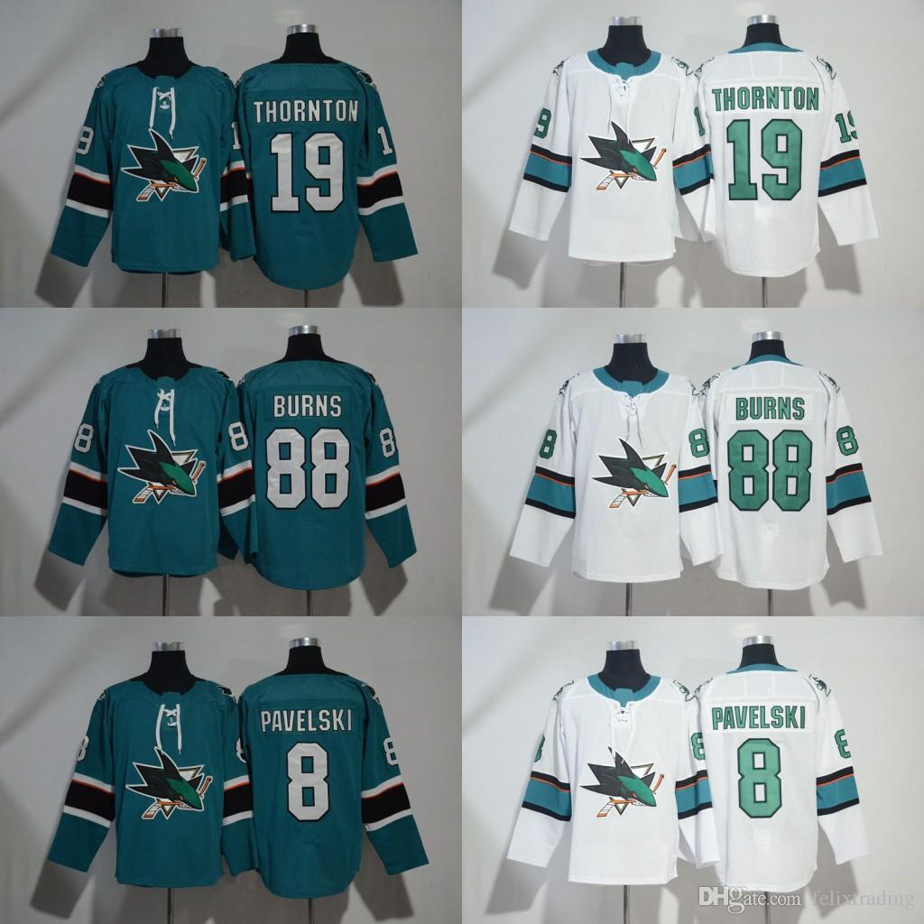 low priced 5c3a7 94cac 19 Joe Thornton San Jose Sharks 65 Erik Karlsson 88 Brent Burns 8 Joe  Pavelski Jersey 2017-2018 Season Hockey Jerseys