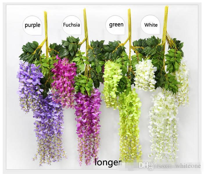 Romantic Artificial Flowers Simulation Wisteria Vine Wedding Decorations Long Short Silk Plant Bouquet Room Office Garden Bridal Accessories
