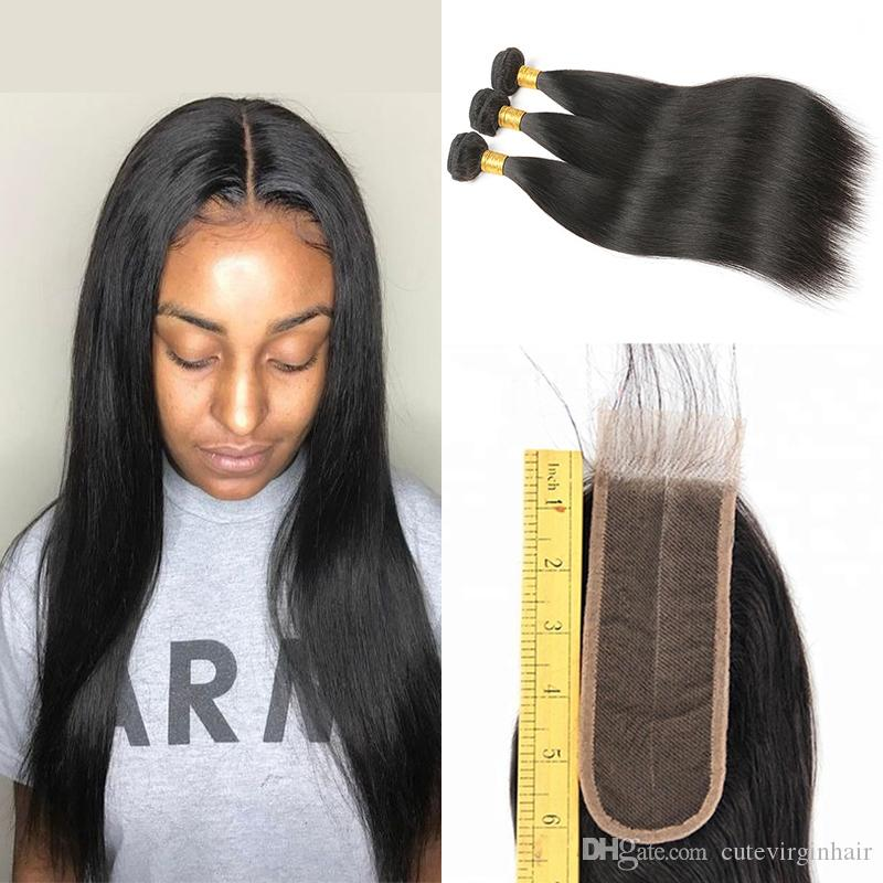 Brazilian Human Hair 3 Bundles With 2x6 Middle Part Lace Closure
