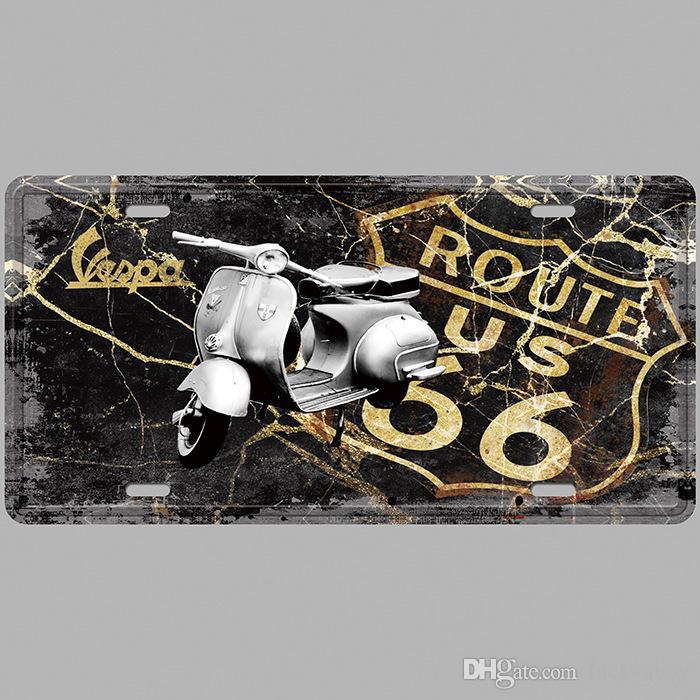 VESPA Route 66 US Retro License Plates Vintage Tin Sign Art Wall Plaque decor Home Metal Painting Bar Pub