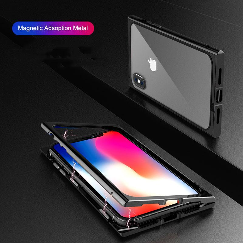 various colors 19b30 5b7ac wholesale Magneto Case for iPhone X 7 8 Case Tempered Glass Magnetic  Adsorption Case for iPhone 10 X 7 Plus 8 Plus Transparent Capa