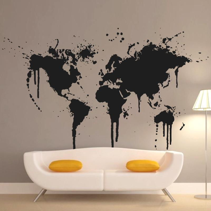 Art new design home decoration spray paint world map wall decals creative house decor vinyl cheap removable sticker wall sticker mirror wall sticker mural