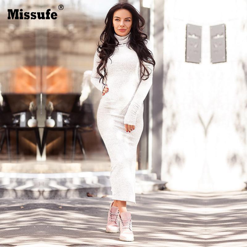 bc1e676f3055f Satın Al Balıkçı Yaka Uzun Kollu Bodycon Örme Elbise Kadınlar 2017 Kış  Sıcak Kazak Beyaz Elbise Zarif Yan Bölünmüş Maxi Elbiseler, $21.04 |  DHgate.Com'da