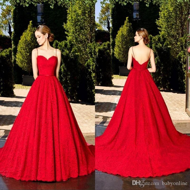 2018 Formal Ruby Red Full Lace Vintage A Line Evening Dresses