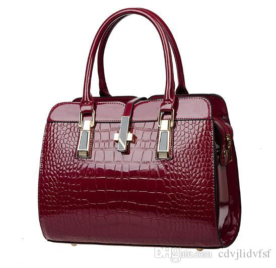 55bcf36ca1 Elegant Women S Handbags Bolsos Fashion Patent Leather PU Bags Alligator  Big Cross Lock Shoulder Bags Ladies Pouch Cheap Handbags Cheap Purses From  ...