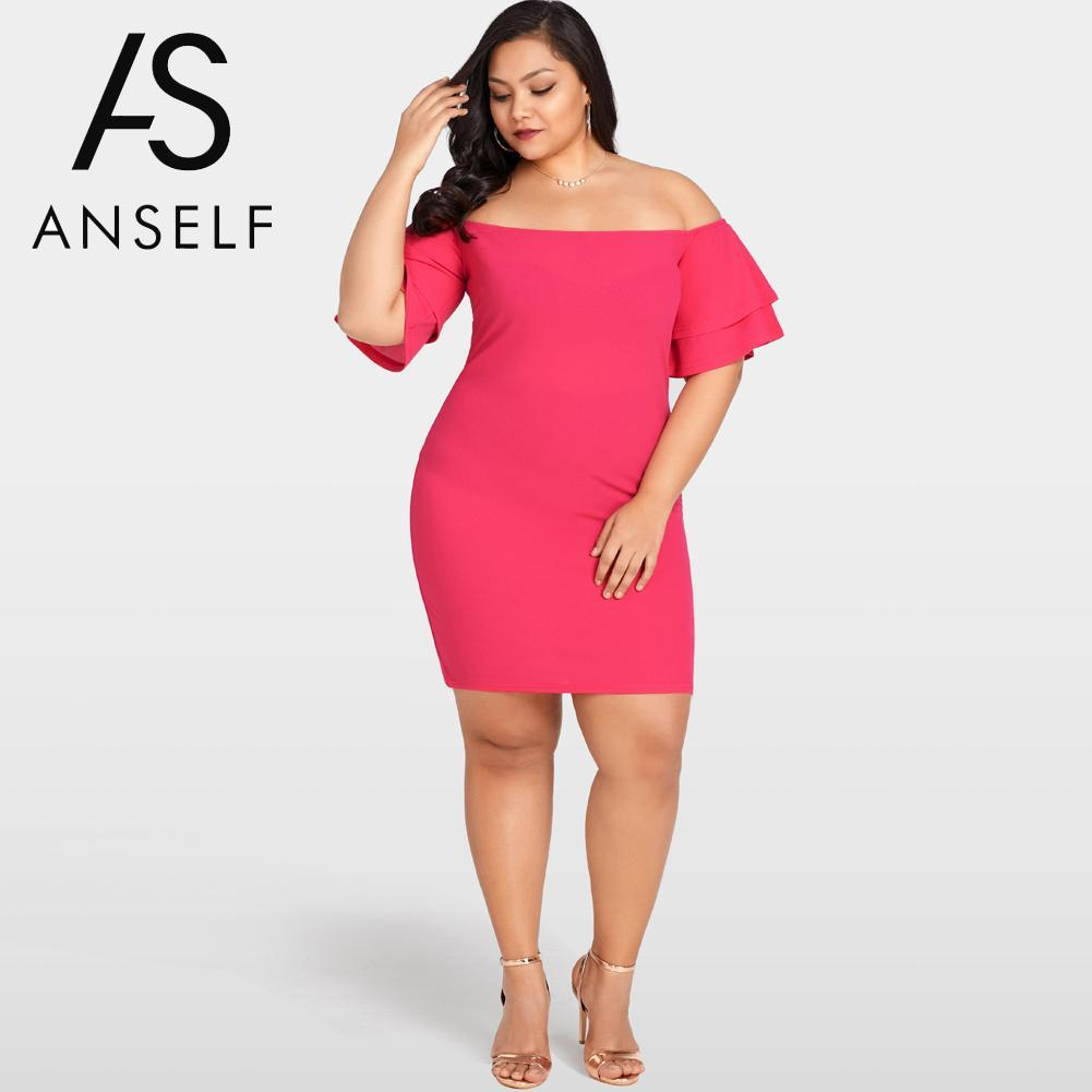 9fe2bb6dbb8 2019 Women Sexy XXXL Plus Size Ruffle Dress Off The Shoulder Layer Sleeve  Lace Up EleLadies Party Dress Female Bodycon Clubwear From Fullcolor