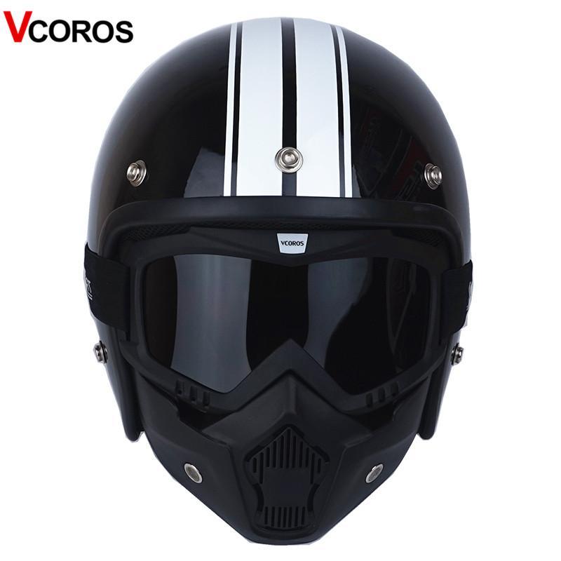 44ae677e4c5d3 Compre Casco VCOROS 3 4 Open Face Vintage Con Máscara Desmontable Hombre  Scooter Harley Moto Cascos Para Moto Vespa A  85.98 Del Niumou