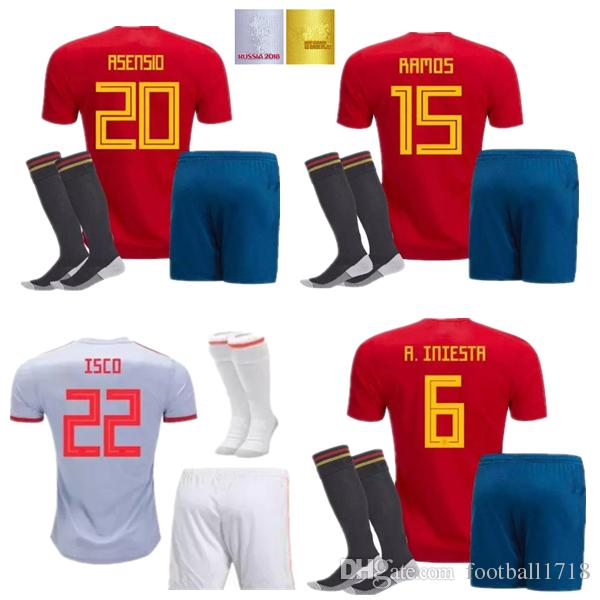 Compre Camiseta De Fútbol España Kit 2018 Copa Del Mundo INIESTA RAMOS  Camiseta De Fútbol Rojo FABREGAS COSTA SILVA ISCO VAXI Camiseta De Fútbol  España A ... 9dae54b9a37aa