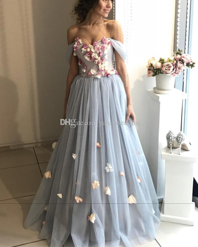 Blue Floral Tulle Evening Dresses Sweetheart Attachable Straps Floor Length Ball Gown Prom Dresses Elegant Evening Gowns Bandage Lace Up